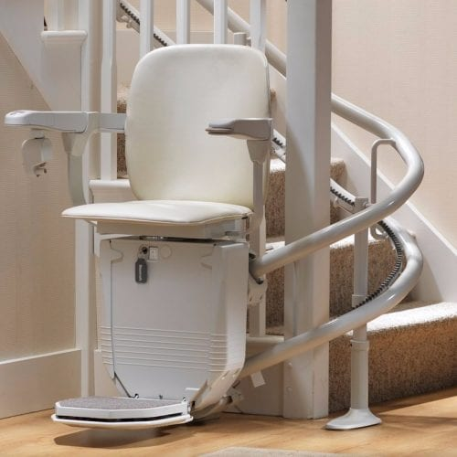 image of a stairlift with nobody sitting on it